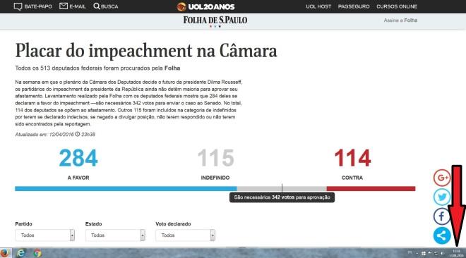 Chamada da Folha de São Paulo 13 abr 2016, 13h18 (GMT+2) (clique para ampliar)