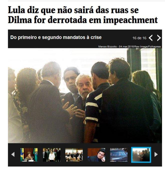 Chamada da Folha de São Paulo, 14 abr 2016