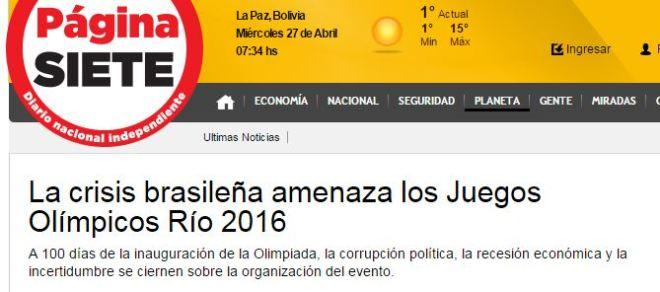 A crise brasileira ameaça os Jogos Olímpicos Rio 2016