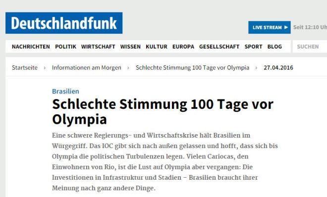 Mau humor 100 dias antes das Olimpíadas