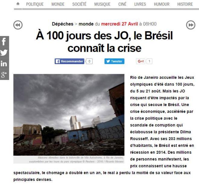 A 100 dias dos JOs, o Brasil atravessa crise