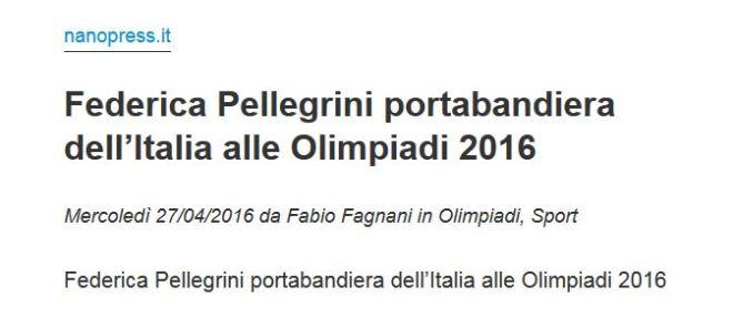 Federica Pellegrini, porta-bandeira da Italia nas Olimpíadas 2016