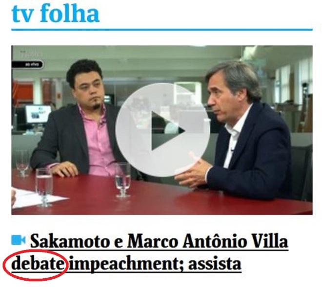 Chamada da Folha de São Paulo, 29 abr 2016