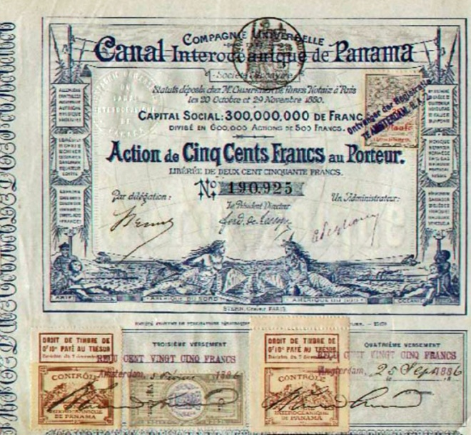 Ação de 500 francos Cia. do Canal do Panamá, anos 1880