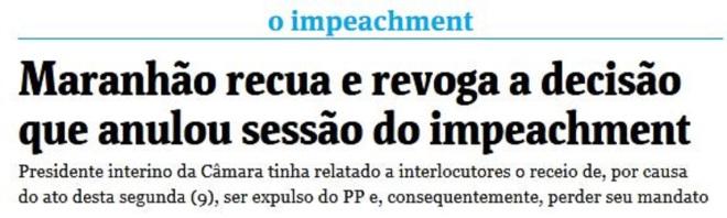 Chamada Folha de São Paulo, 10 maio 2016