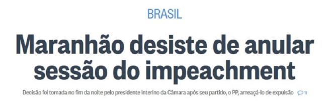 Chamada O Globo (Rio de Janeiro), 10 maio 2016