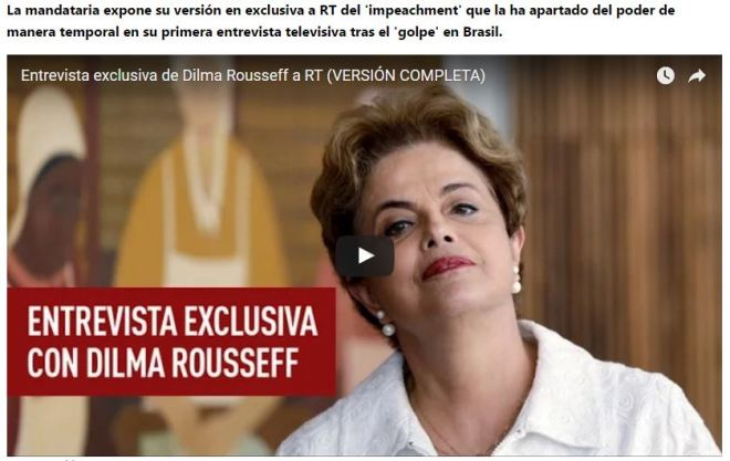 Entrevista de Dilma Rousseff à Rádio Televisão Russa Para assistir, clique sobre a imagem