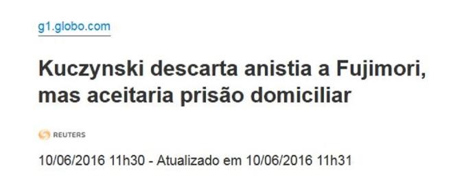 Chamada O Globo, 10 junho 2016
