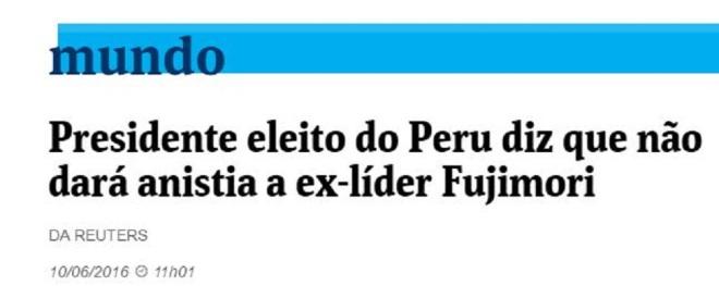 Chamada Folha de São Paulo, 10 junho 2016