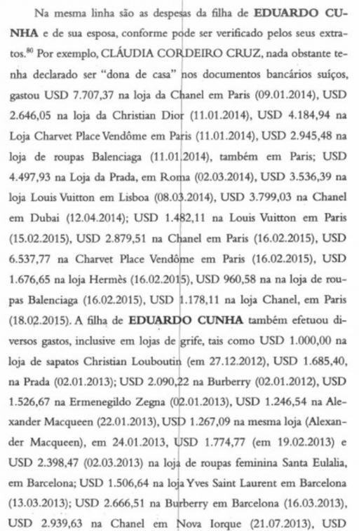 Lista (parcial) dos gastos da esposa e da filha de Senhor Cunha