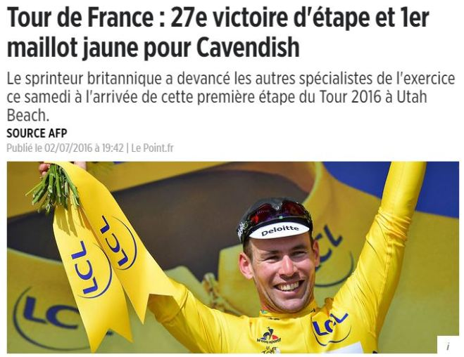 Cavendish: vencedor da primeira etapa do Tour de France