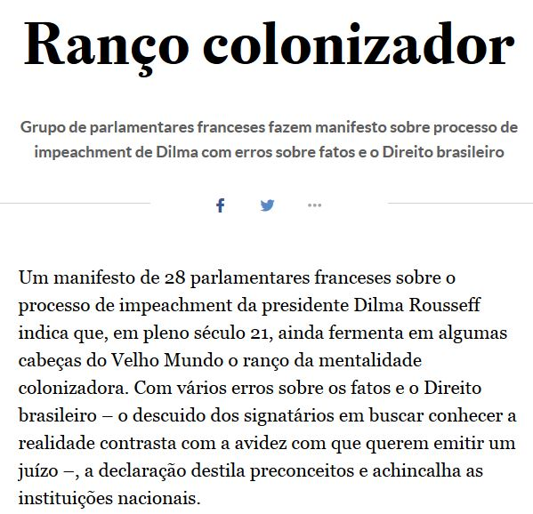 Editorial Estadão, 17 jul° 2016