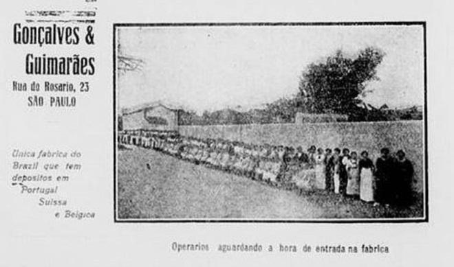 Direito de fazer fila na entrada da fábrica São Paulo, anos 1910
