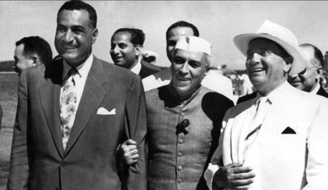Nasser (Egito), Nehru (Índia) e Tito (Iugoslávia) Mentores do Movimento dos Não-Alinhados, 1961
