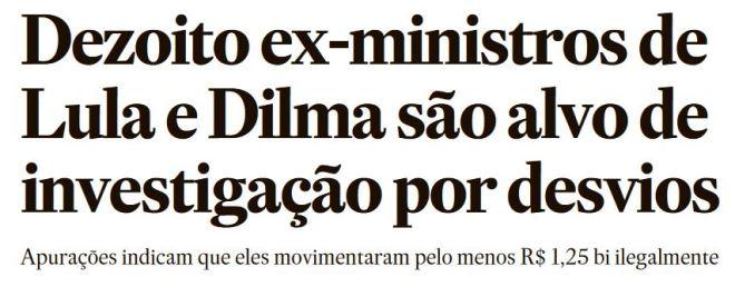 Manchete da edição impressa do Estadão, 16 out° 2016