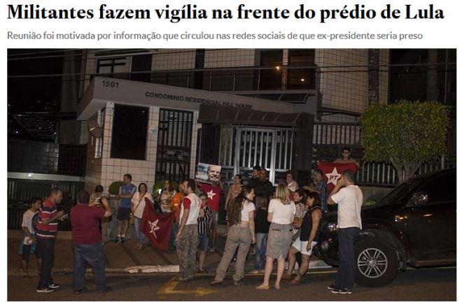"""Chamada do Estadão de 17 out° 2016 monstrando a """"multidão"""" que acorreu para prestigiar o Lula"""