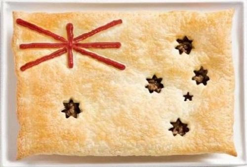 Austrália: torta de carne enfeitada