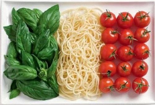 Itália: manjericão, spaghetti e tomate