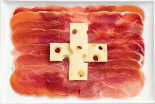 Suíça: carne defumada e queijo Emmenthal