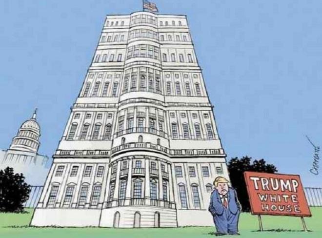 A Casa Branca segundo Donald Trump by Patrick Chappatte, desenhista suíço