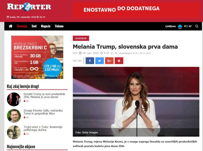 Chamada da mídia eslovena, 9 nov° 2016