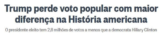 Chamada do jornal O Globo, 13 dez° 2016