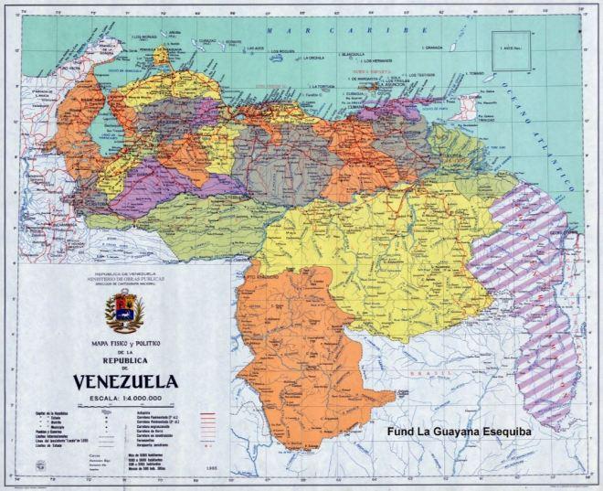Venezuela: em hachurado, a região contestada