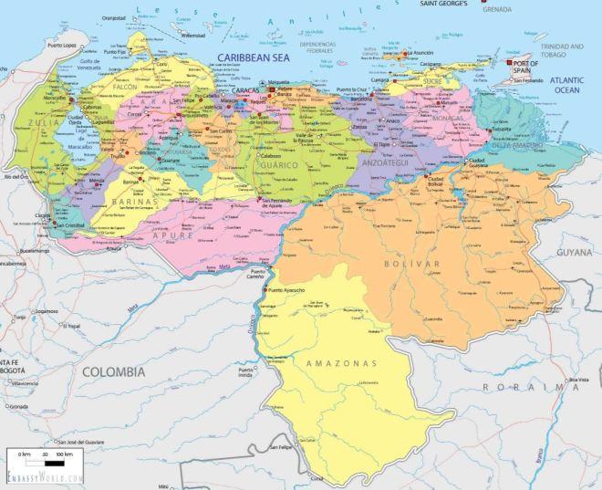Venezuela: fronteiras internacionalmente reconhecidas